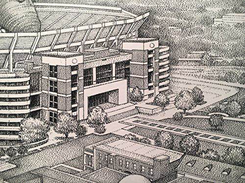 Alabama football stadium with elephant 11''x17'' pen and ink print from hand-drawn original by Campus Scenes (Image #7)
