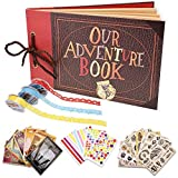 Our Adventure Book Scrapbook Photo Album Handmade DIY Scrapbook Album Expandable 80 Pages with Accessories Kit Wonderful Gift for Family Anniversary Wedding Birthday Thanksgiving Day Christmas