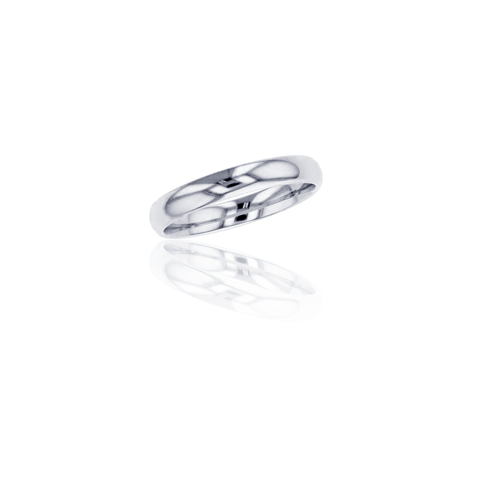 Platinum 950 Rhodium Plated 3MM Standard Fit Luxury Wedding Band