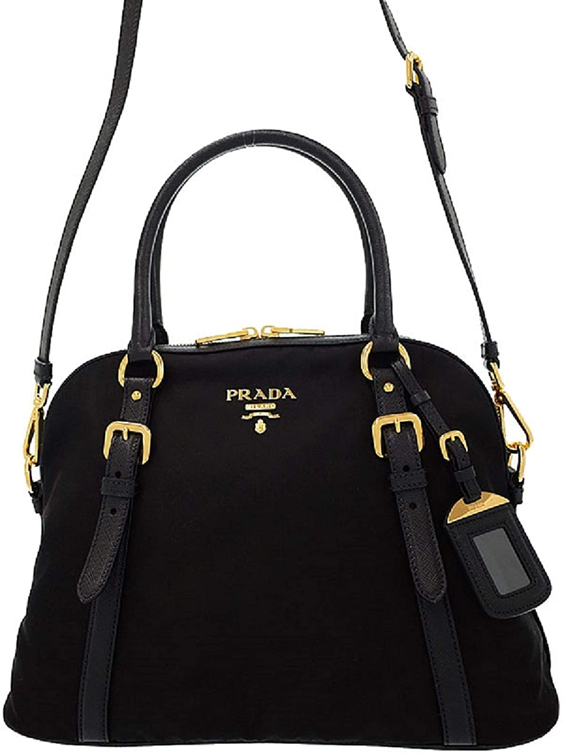 Amazon.com  Prada Tessuto Nylon and Saffiano Leather Black Satchel 1BB013   Shoes 800bf9a365c46