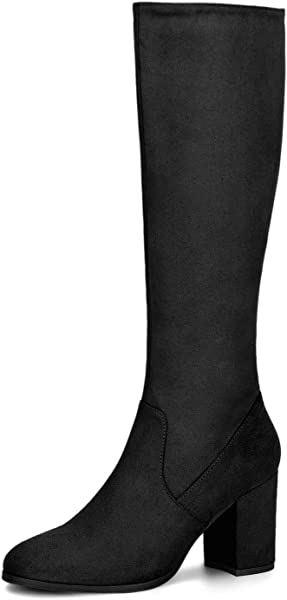 2509ed219ca Allegra K Women s Side Zip Chunky Heel Black Knee High Boots - 5.5 ...