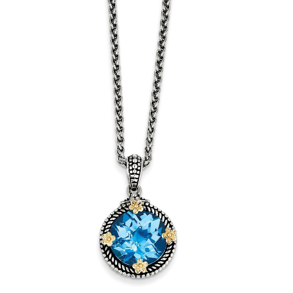 Sterling Silver with 14k 6.50Swiss Blue Topaz 18in Necklace