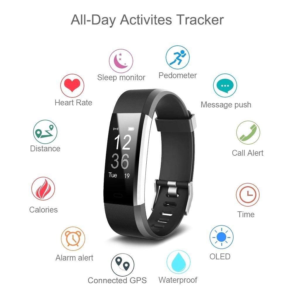 iposible Montre Connectée, Podometre Smartwatch Bracelet Connecté Étanche IP67 Fitness Tracker dActivité Cardiofréquencemètre Cardio Podomètre Sport Smart ...