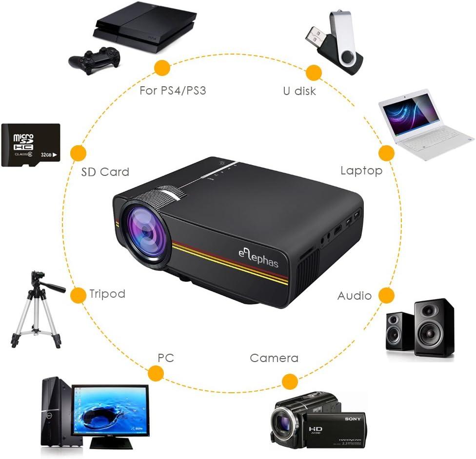 ELEPHAS 1200 lúmenes LED Mini proyector de vídeo Multimedia Apoyo ...