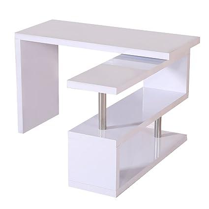Mesa de Escritorio con Estantería para Oficina - Color Blanco - MDF ...