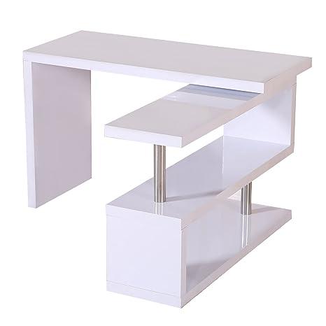Mesa de Escritorio con Estantería para Oficina - Color Blanco - MDF y Acero  Inoxidable - 187,5x50x76,1cm