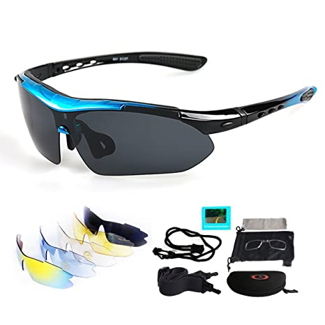 VILISUN Radbrille Polarisierte Sportbrille Fahrradbrille mit UV Schutz 5 Wechselgläser für Herren Damen, für Outdooraktivitäten wie Radfahren Laufen