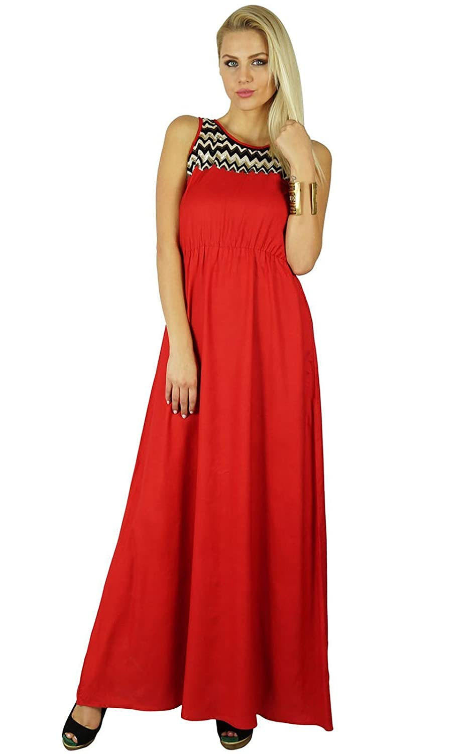 Bimba Women Long Red Maxi Dress Embroidered Neck Trendy Chic Custom Clothing