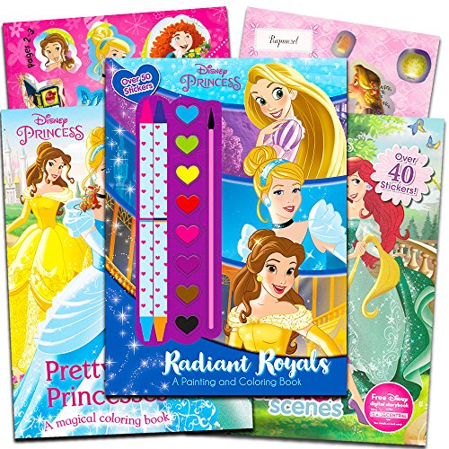 Disney Princess Coloring Book Super Set -- 3 Disney Princess Books with Stickers, Paint and Crayons (Party Supplies)