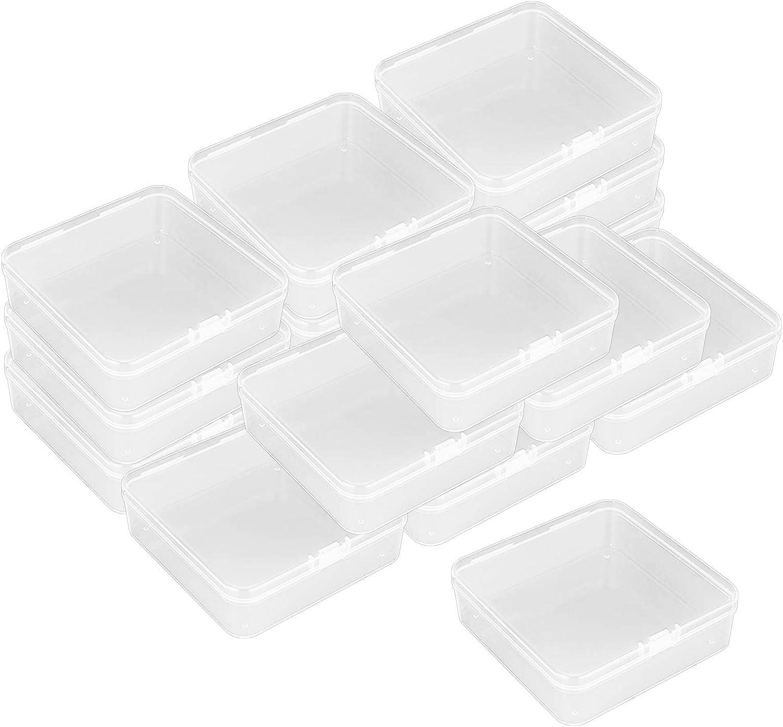 16 piezas Mini caja de almacenamiento, Caja de Contenedores de Almacenamiento de Plastico Transparente con Tapa para Joyas, Artículos, Tarjetas, 9,4 cm * 9,4 cm * 2,5 cm