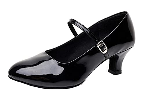 Women Ballroom Dance Shoes Mary Jane Shoes Low Heel Latin Tango Salsa  Dancewear Glitter Heeled Black 6846cbbcd36b