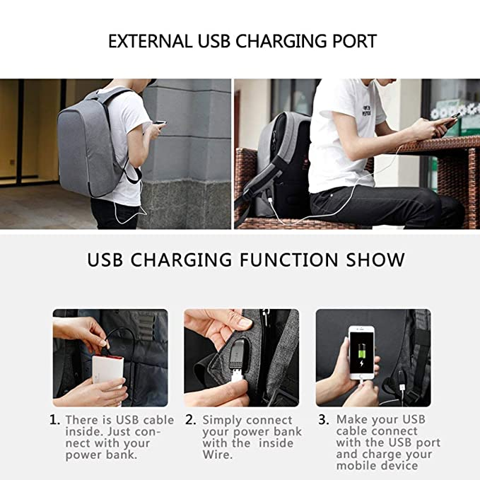 Amazon.com: ZLHW Anti-Theft Laptop Backpack Business Bags USB Charging Port School Travel Pack Fits Under Most 15.6 inch Laptop: Sports & Outdoors