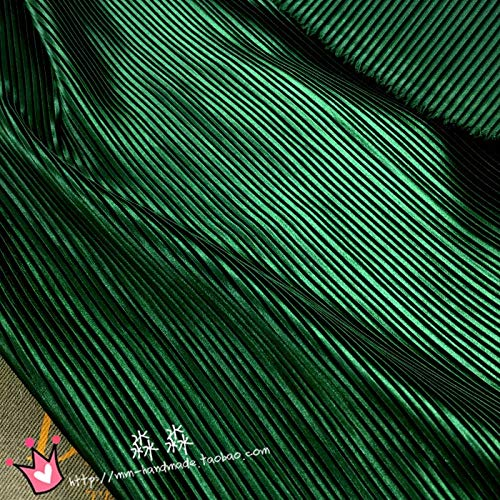 1Pc Clothing Dress Garment Sewing Fabric Cloth Emerald Green Pinstripe Pleated Silk Satin Crushed Electro-Optic Skirt Fabric Pleated 0.5M