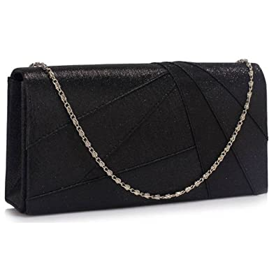 e778ec3153 Womens Style Prom Party Wedding Bags Ladies Evening Clutch Purse Satin (A -  Black Clutch