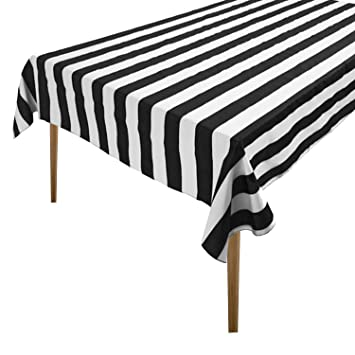 Enjoyable Lovemyfabric Cotton 2 Inch Black White Stripes Tablecloth For Wedding Bridal Shower Birthdays Special Events 58X76 Home Interior And Landscaping Synyenasavecom