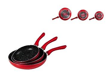 Juego de 3 sartenes para inducción, sartenes de 28 cm, 24 cm y 20 cm (sartén, aluminio, antiadherente, aptas para inducción, color rojo): Amazon.es: Hogar