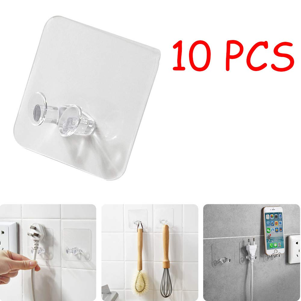 Staron  Wall Storage Transparent Power Plug Socket Holder Wall Adhesive Wall Hooks Hanger Home Office Waterproof Hooks for Hanging Robe Coat Towel Kitchen Utensils Keys Bags-10 Packs (White 10 Pcs)
