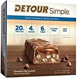 Detour Simple Whey Protein Bar, Chocolate Chip Caramel, 2.1 Ounce, 12 Count