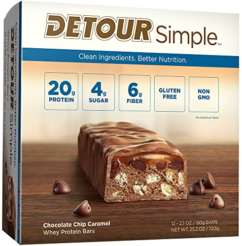 Detour Simple Whey Protein Bar, Chocolate Chip Caramel, 2.1 Ounce, 12 Count (Caramel Chocolate Chips)