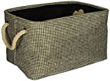 HomeSource DAR003HB013AA Fabric Basket, 12.75''x 9''x 7'', Black
