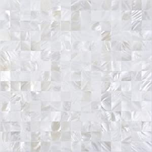 KASARO Wall Tile Peel and Stick Mosaic Shell Backsplash Decor for Bedroom and Bathroom Mother of Pearl (10, Ivory White)