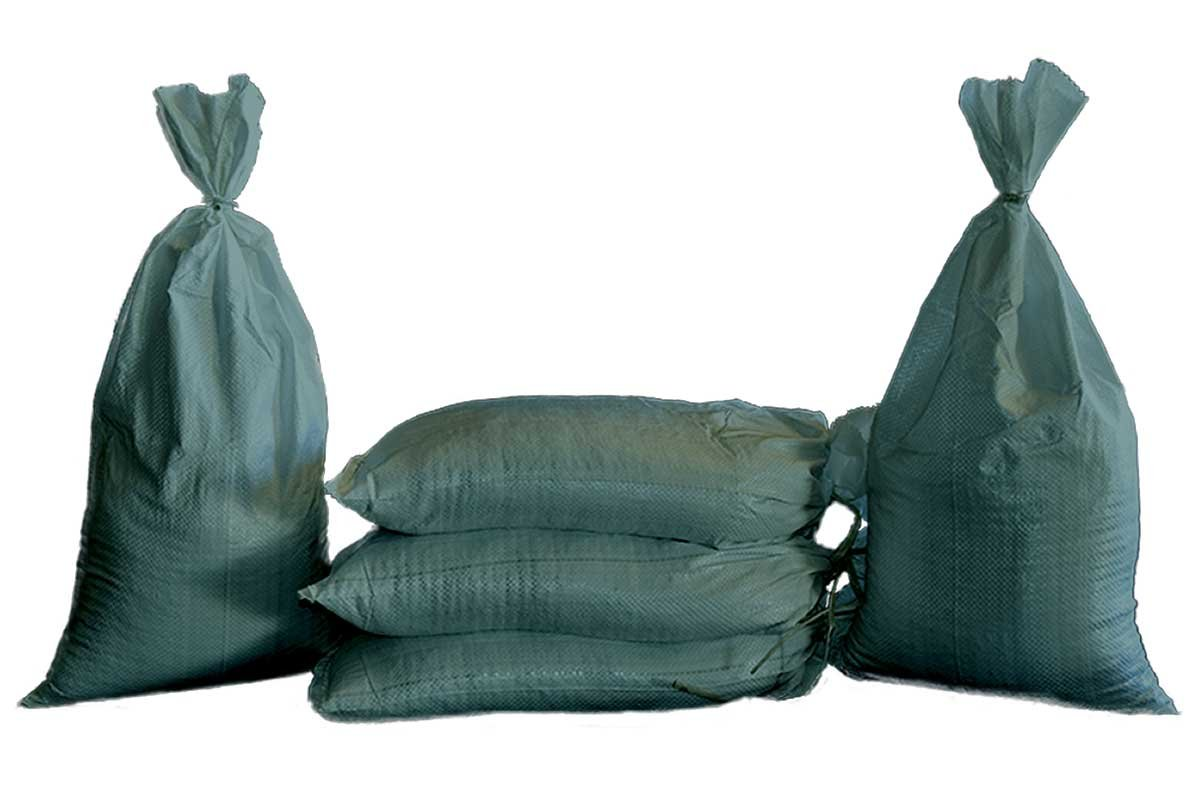 Sand Bags - Empty Woven Polypropylene Sandbags with Built-in Ties, UV Protection; Size: 14'' x 26'', Qty of 100 (Green) by Geo Erosion Resources