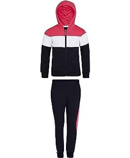 LotMart Girls Inner Fleece Hooded Tracksuit Playful Colours