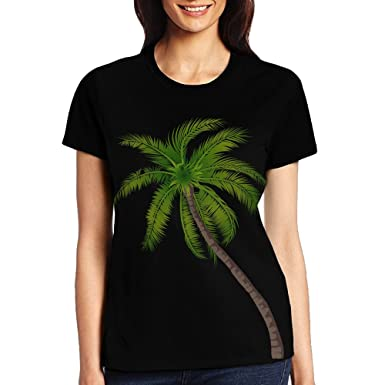 e6c953908a89 Amazon.com: Women's Printed T-Shirt-Custom Palm Tree Png Round Neck Short  Sleeve Tee: Clothing