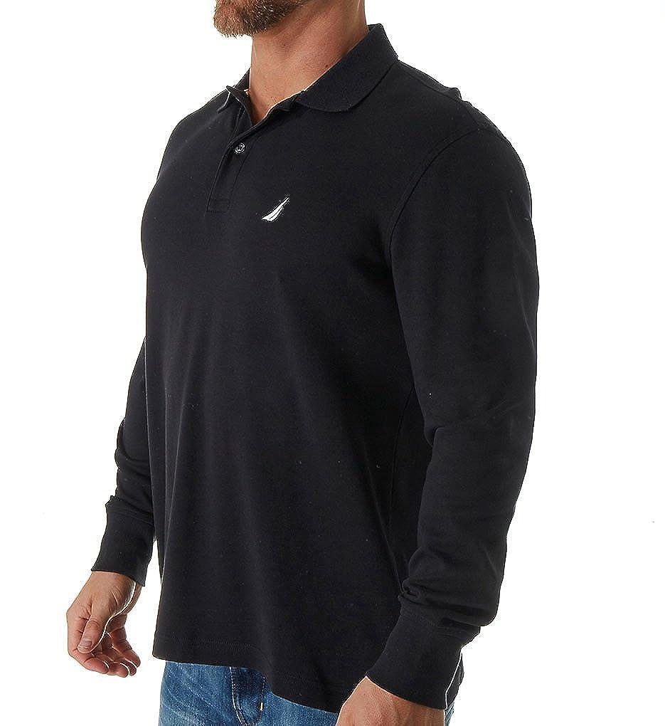 Nautica Mens Long Sleeve Solid Interlock Polo