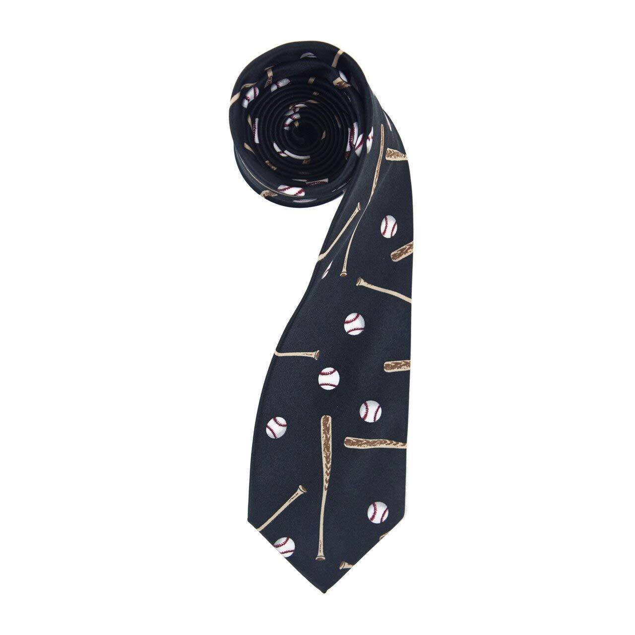 Boys Dark Gray /& White Baseballs /& Bats Sports Necktie Tie Neckwear