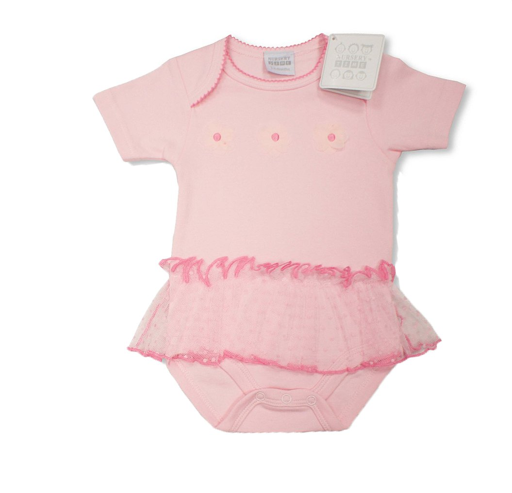 Baby Girls Pink Body Vest with Frill & Daisies Design (0-3 Months) Baby Best Buys