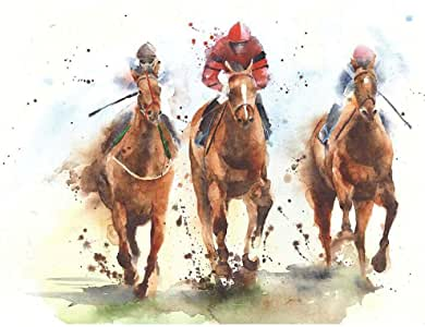 Amazon.com: Wee Blue Coo Racing Horses Watercolour ...