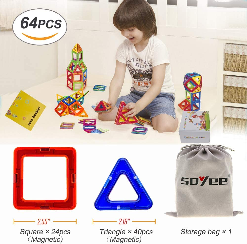 5 Soyee Magnetic Blocks Educational Toys for 3 4 6 Year Old Boys and Girls Stacking Toddler Toys 64pcs Magnetic Tiles Big Building Block Set Great STEM Toy Gift Idea for Kids