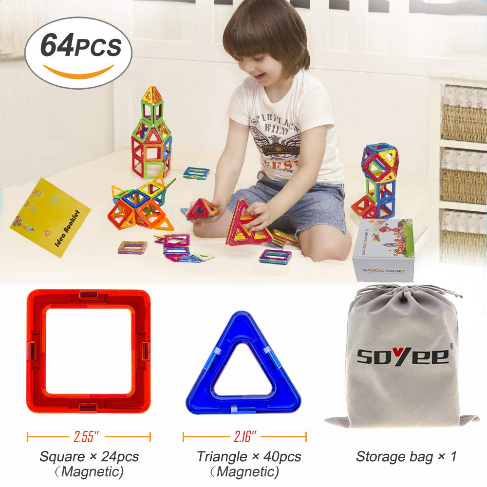 Soyee Magnetic Blocks Educational Toys for 3, 4, 5, 6 Year Old Boys and Girls Stacking Toddler Toys 64pcs Magnetic Tiles Big Building Block Set Great STEM Toy Gift Idea for Kids by Soyee (Image #2)