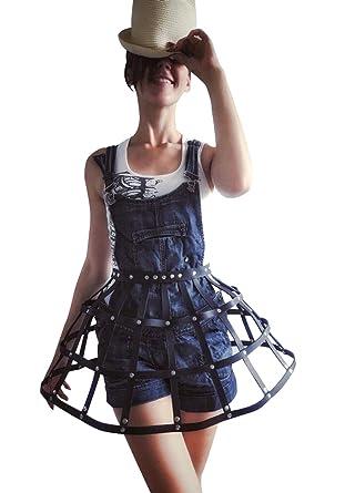 Amazon.com: Falda de piel gótica para mujer, arnés de cuero ...