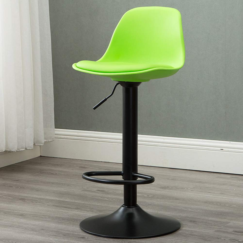 Green Modern Swivel Barstools, Height-Adjustable Chair High Stool with Backs Pub Chair Plastic Filled Cotton Counter Bar Stool Chair for Bar Office Home-Yellow