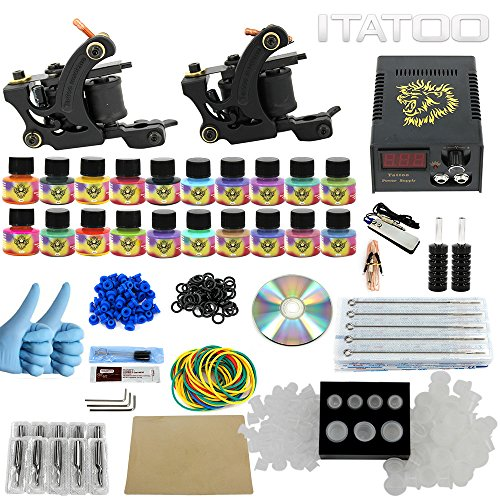 Price comparison product image ITATOO Complete Tattoo Kit for Beginners Tattoo Power Supply Kit 20 Tattoo Inks 50 Tattoo Needles 2 Pro Tattoo Machine Kit Tattoo Supplies TK1000001