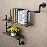 Reclaimed Wood & Industrial Heavy Duty DIY Pipe Shelf Shelves Steampunk Rustic Urban Bookshelf Real Wood Bookshelves and bookcases (2 Tier) 6
