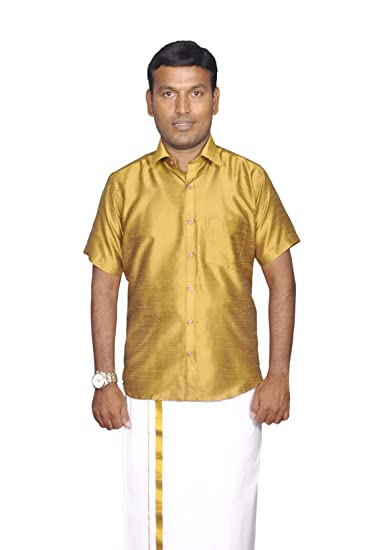 f482d698c3a60 PRAKASAM COTTON Mens Slim Fit Gold Colour Dupion Silk Readymade Half Sleeve  Shirt (38)