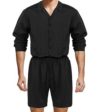 CHICTRY Homme Body Justaucorps Salopette à Manches Longues vêtement de  Sport Short de Cordon Combinaison Rompers c1684ef888a