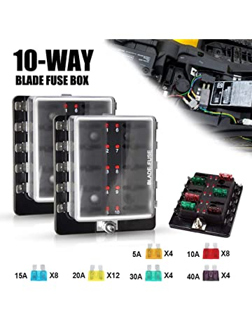 liteway 10-way blade fuse box (2pcs) 12-32v led illuminated automotive