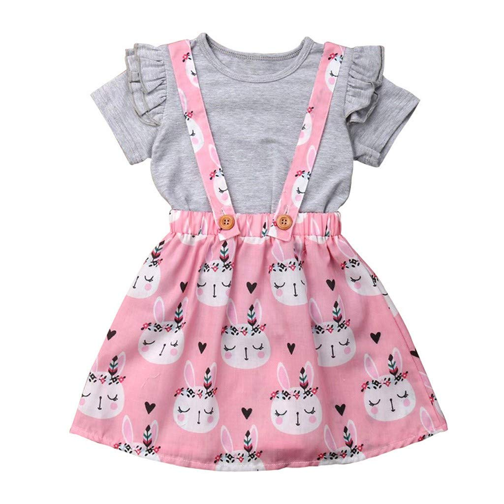 US Stock Baby Girl Hooded Shirt Top Pants Trouser Outfit Easter Rabbits Clothes