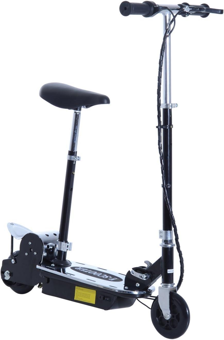 HOMCOM Patinete Eléctrico Niño Scooter Plegable con Manillar y Asiento Ajustable Tipo Monopatín con Freno y Caballete 120W Carga 50kg 81.5x37x96cm Color Negro (Negro)