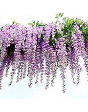 12 stuks/partij kunstbloemen, imitatie blauweregen slingerplant zijden bloem voor bruiloftsdecoraties, thuis, tuin, feestdecoratie, kunstbloem, 110 cm per stuk