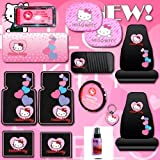 Hello Kitty Sanrio Hearts Design 14 Pieces Combo Set Front and Rear Rubber Floor Mats Seat Covers Steering Wheel Cover License Plate Frame CD Visor Organizer Windshield Sunshade Side Window Shades Key Chain and a Bonus 2oz Purple Slice
