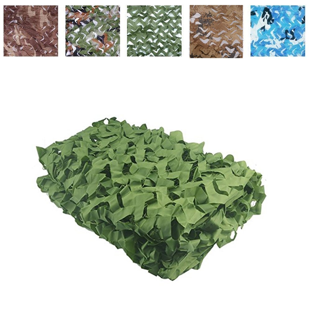 elecfan Green 6.6 ft x 13 ft Sunscreen Camouflage Netting Military,Woodland Camo Netting, Camping Hunting Shooting Blind Camo Net Watching Hide Party Decorations