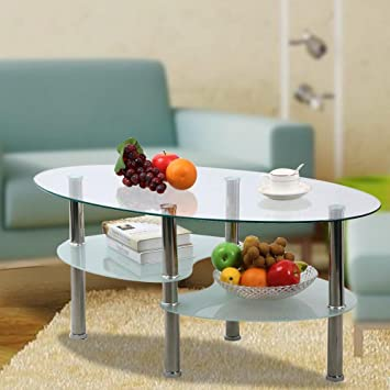 Go2buy 3 Tier Modern Round Glass Top Cocktail Coffee Table Living Room Oval Side End
