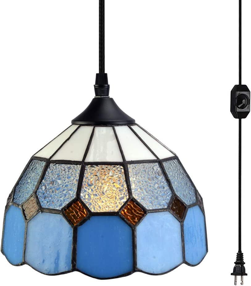 Stepeak Tiffany Style Plug in Pendant Light Mini Chandelier with 16.4 Ft Hanging Cord and in Line On Off Dimmer Switch, Vintage Swag Ceiling Lamp for Dining Room, Bedroom or Porch 7.9 in Width