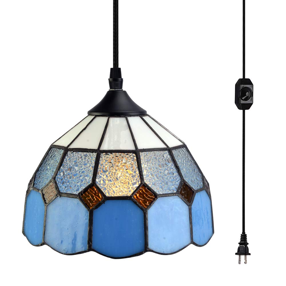 """Stepeak Tiffany Style Plug in Pendant Light Mini Chandelier with 16.4 Ft Hanging Cord and in Line On/Off Dimmer Switch, Vintage Swag Ceiling Lamp for Dining Room, Bedroom or Porch (7.9"""" in Width)"""