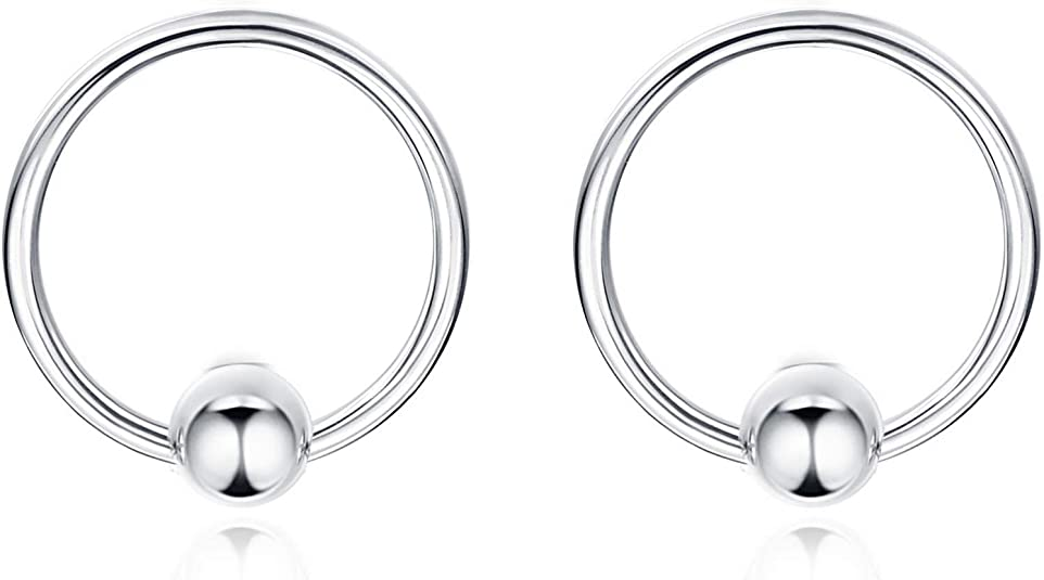 Great my shop 22G Stainless Steel Nose Ring Hoop Cartilage Hoop Septum Piercing Small Ball 10mm